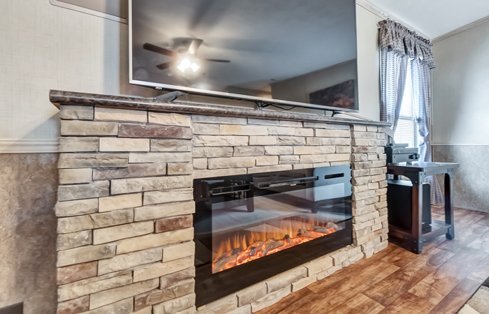 LED 45-inch Electric Fireplace w/ Rock (built in)