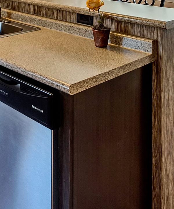 Post-Form Roll-top Countertops w/ Bullnose Front Edge & Integrated Backsplash